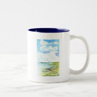 Tidal Marsh and Sky - watercolor pencil Two-Tone Coffee Mug
