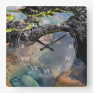 Tidal pools square wall clock