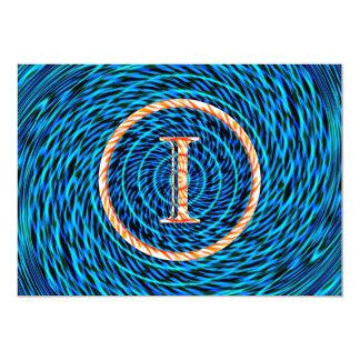 Tidal Spiral Blue Monogram I Card