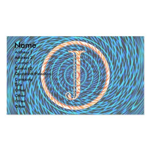 Tidal Spiral Blue Monogram J Business Card Template