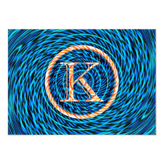 Tidal Spiral Blue Monogram K Card