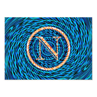 Tidal Spiral Blue Monogram N Card
