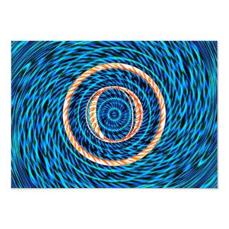Tidal Spiral Blue Monogram O Card