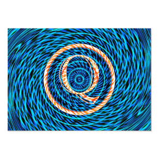Tidal Spiral Blue Monogram Q Card