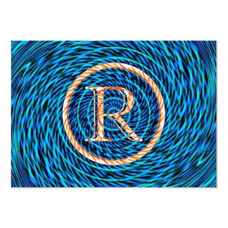 Tidal Spiral Blue Monogram R Card