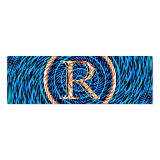 Tidal Spiral Blue Monogram R Double-Sided Mini Business Cards (Pack Of 20)