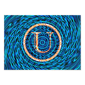 Tidal Spiral Blue Monogram U Card