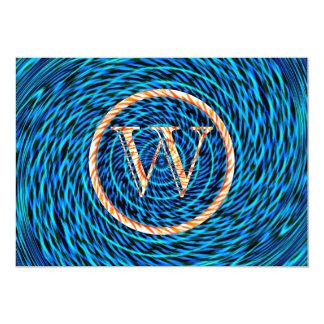 Tidal Spiral Blue Monogram W Card