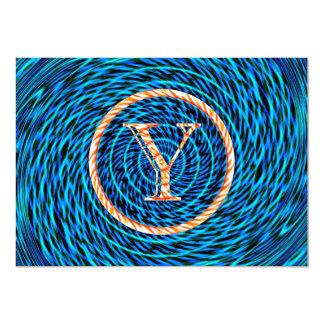 Tidal Spiral Blue Monogram Y Card