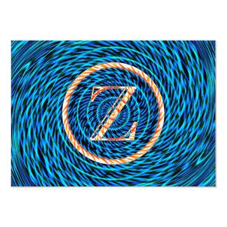 Tidal Spiral Blue Monogram Z Card