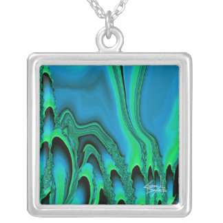 Tidal Wave Abstract Necklace (teal/green)