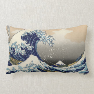 Tidal Wave off of Kanagawa Vintage Oriental Art Lumbar Pillow