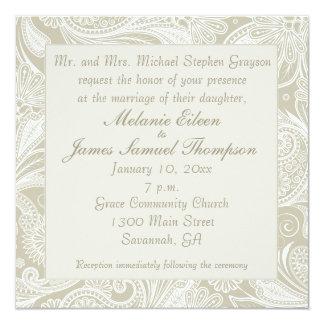 Tidal Wave Sand White Paisley Wedding Invitiation Custom Announcement