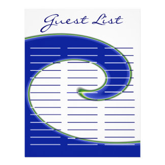 Tidal Wave Wedding Lined Guest Log Personalized Letterhead