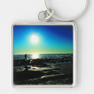 Tide Pool Sunset Silver-Colored Square Keychain