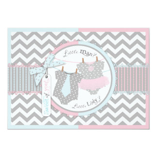 Tie and Tutu Gender Reveal Thank You Card Custom Announcements