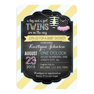 Tie and Tutu Twins Baby Shower 5x7 Paper Invitation Card