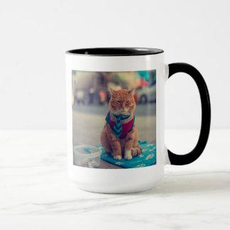 Tie Beige Cat Sitting Begging Mug