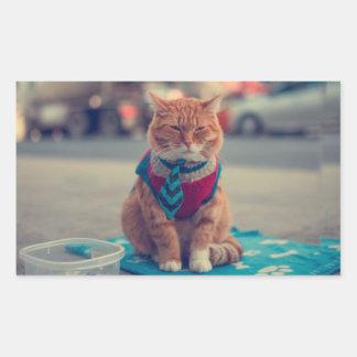 Tie Beige Cat Sitting Begging Rectangular Sticker