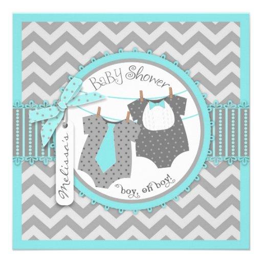 Tie, Bow-tie, & Chevron Print Twins Baby Shower Personalized Invite