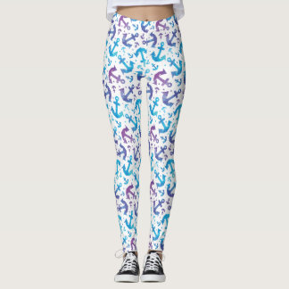 Tie Dye Anchor Pattern 2 Leggings