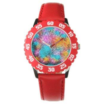 Tie Dye Background Wrist Watch by RainbowChild_Art at Zazzle