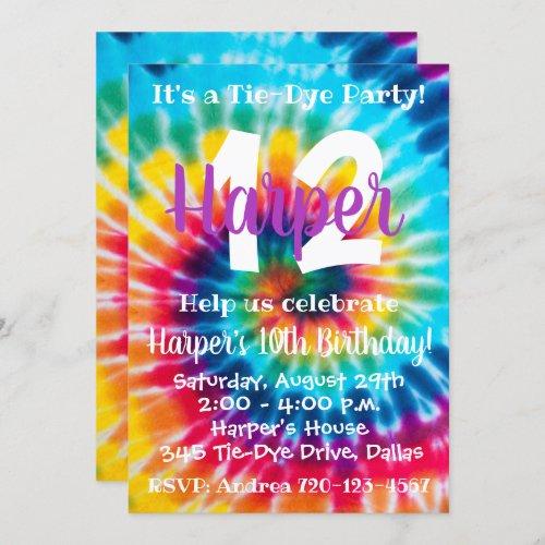 Tie Dye Birthday Invitation Tie Dye Invitation