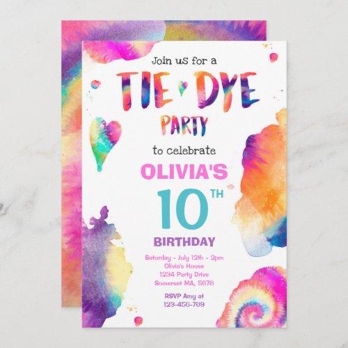 Tie Dye Birthday Party Bright Tie Dye Hippy Party Invitation
