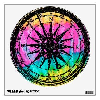 Tie dye Black Stamp Compass Wall Sticker