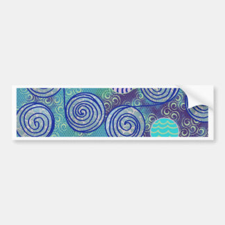 Tie Dye Blue African Wax Pattern Bumper Sticker