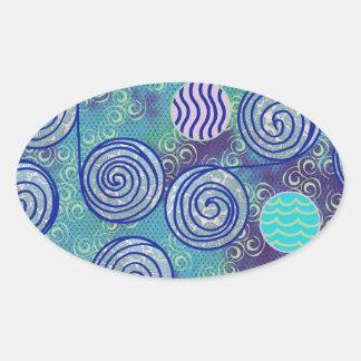Tie Dye Blue African Wax Pattern Oval Sticker