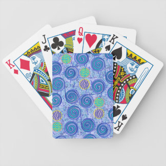 Tie Dye Blue Circles Pattern Bicycle Playing Cards