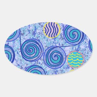 Tie Dye Blue Circles Pattern Oval Sticker