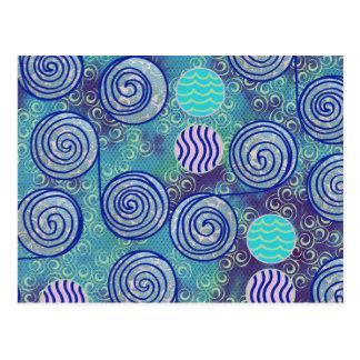 Tie Dye Blue Circles Pattern Postcard