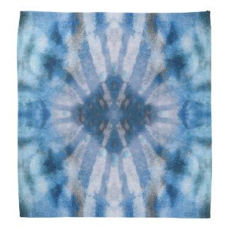 Tie Dye Blue White Radial Rays Spot Pattern Bandana
