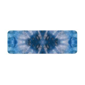 Tie Dye Blue White Radial Rays Spot Pattern Label