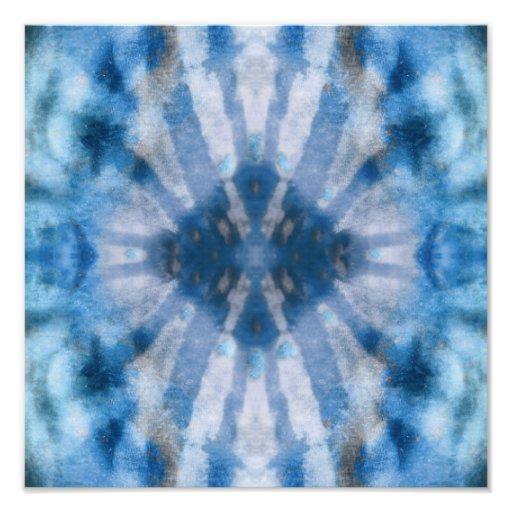 Tie Dye Blue White Radial Rays Spot Pattern Photo Print
