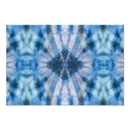 Tie Dye Blue White Radial Rays Spot Pattern Photographic Print