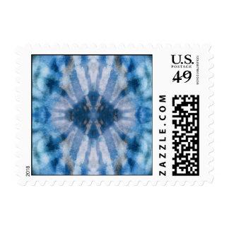 Tie Dye Blue White Radial Rays Spot Pattern Postage