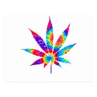 Tie Dye Cannabis Leaf Postcard
