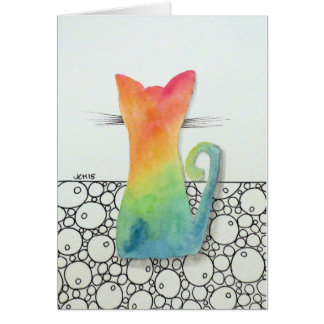 Tie Dye Cat with Bubbles Greeting Card