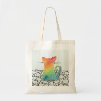 Tie Dye Cat with Bubbles Tote Bag