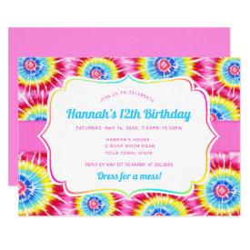 Tie Dye Celebration, Pink Rainbow Birthday Invitation