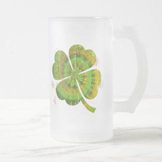 Tie Dye Clover Frosted Glass Beer Mug