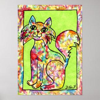 Tie-Dye Color Splash Cat Folk Art Poster