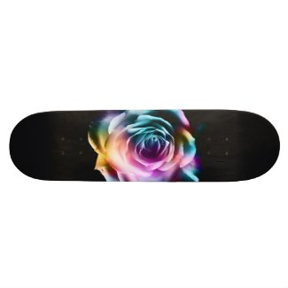 Tie Dye Colorful Rose Skateboard