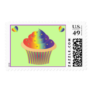 Tie Dye Cupcake Postage Stamps