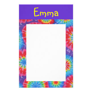 Tie dye customizable stationary stationery
