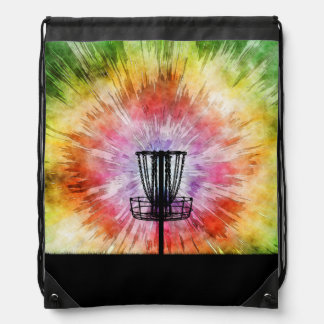 Tie Dye Disc Golf Basket Drawstring Bag