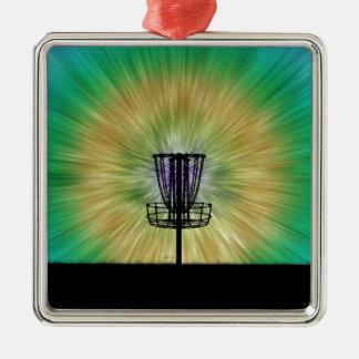 Tie Dye Disc Golf Basket Metal Ornament